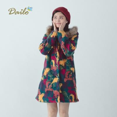 新降【Dailo】花樣迷彩長版-外套(桃紅色)