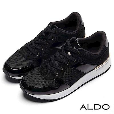 ALDO 異材質拼接幾何流線厚底綁帶休閒鞋~尊爵黑色