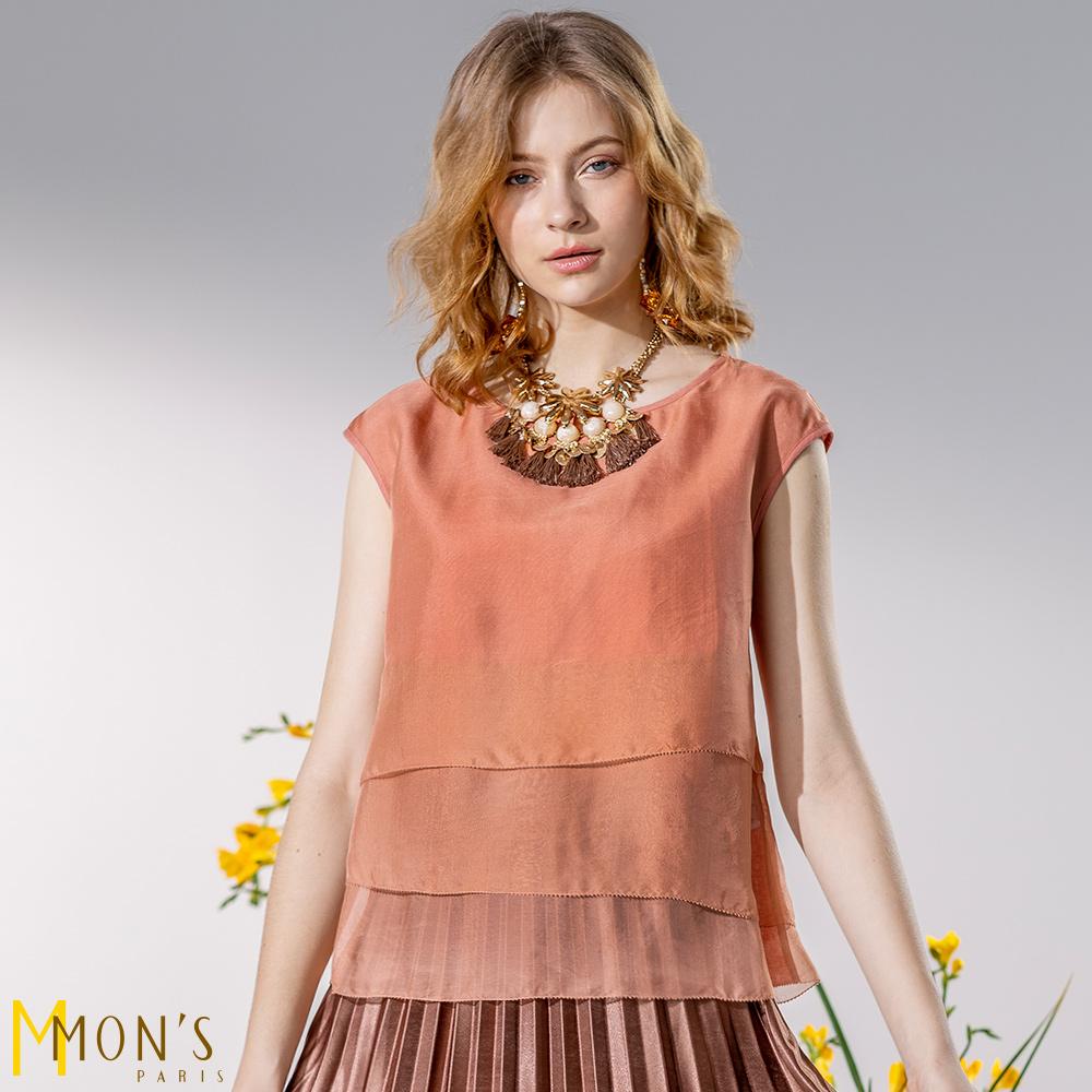 MONS 品味生活 層次拼接絲麻上衣