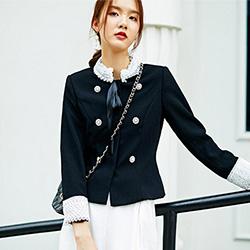 立領排釦撞色拼接短款外套 (黑色)-Kugi Girl
