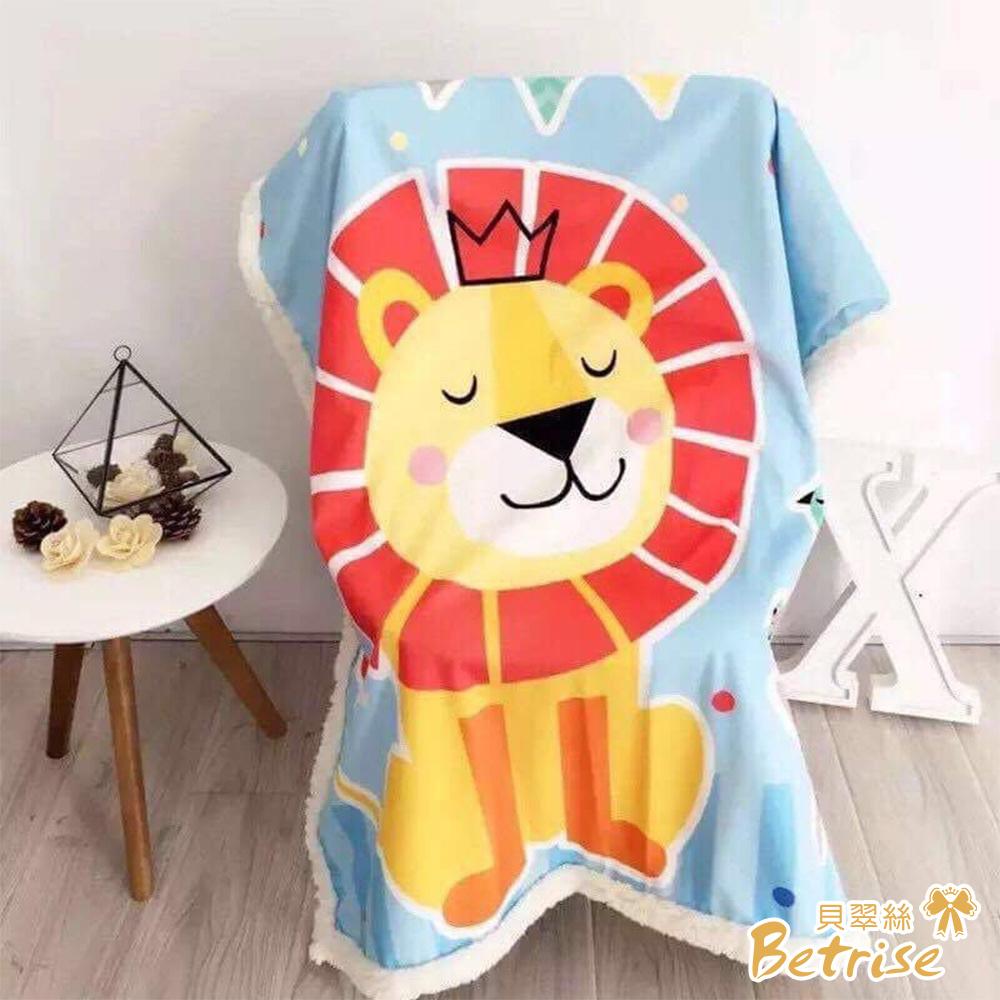 Betrise小獅子  輕生活 韓版清新印花水晶絨雙面毯(150X200cm)