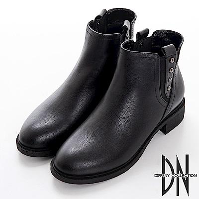 DN 注目焦點 牛皮X彈性織帶造型靴-黑