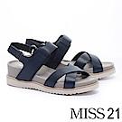 涼鞋 MISS 21 隨性極簡交叉帶全真皮厚底涼鞋-藍