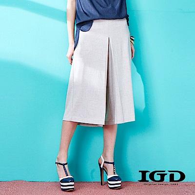 IGD英格麗 打摺寬版寬口七分褲
