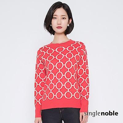 獨身貴族 時尚國度撞色幾何圓圈針織衫(2色)