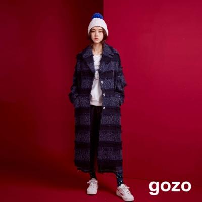 gozo 流蘇條紋長版羊毛針織外套(深藍)