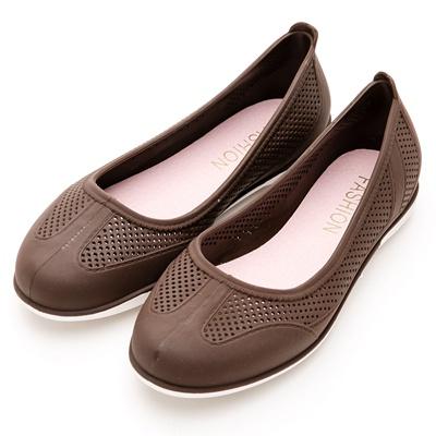 River&Moon防水鞋-晴雨二穿超Q軟沖孔圓頭休閒鞋-咖啡