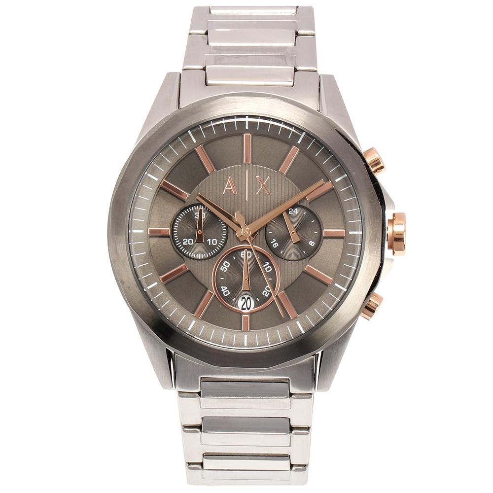 A/X Armani Exchange 三眼計時低調灰鋼帶男腕錶(AX2606)-46mm