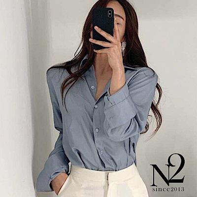 襯衫 正韓緞面雪紡車線造型薄長襯衫(藍色) N2