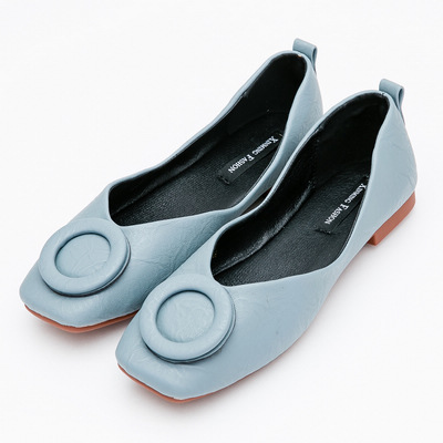River&Moon時尚都會超Q軟圓扣方頭娃娃鞋-藍