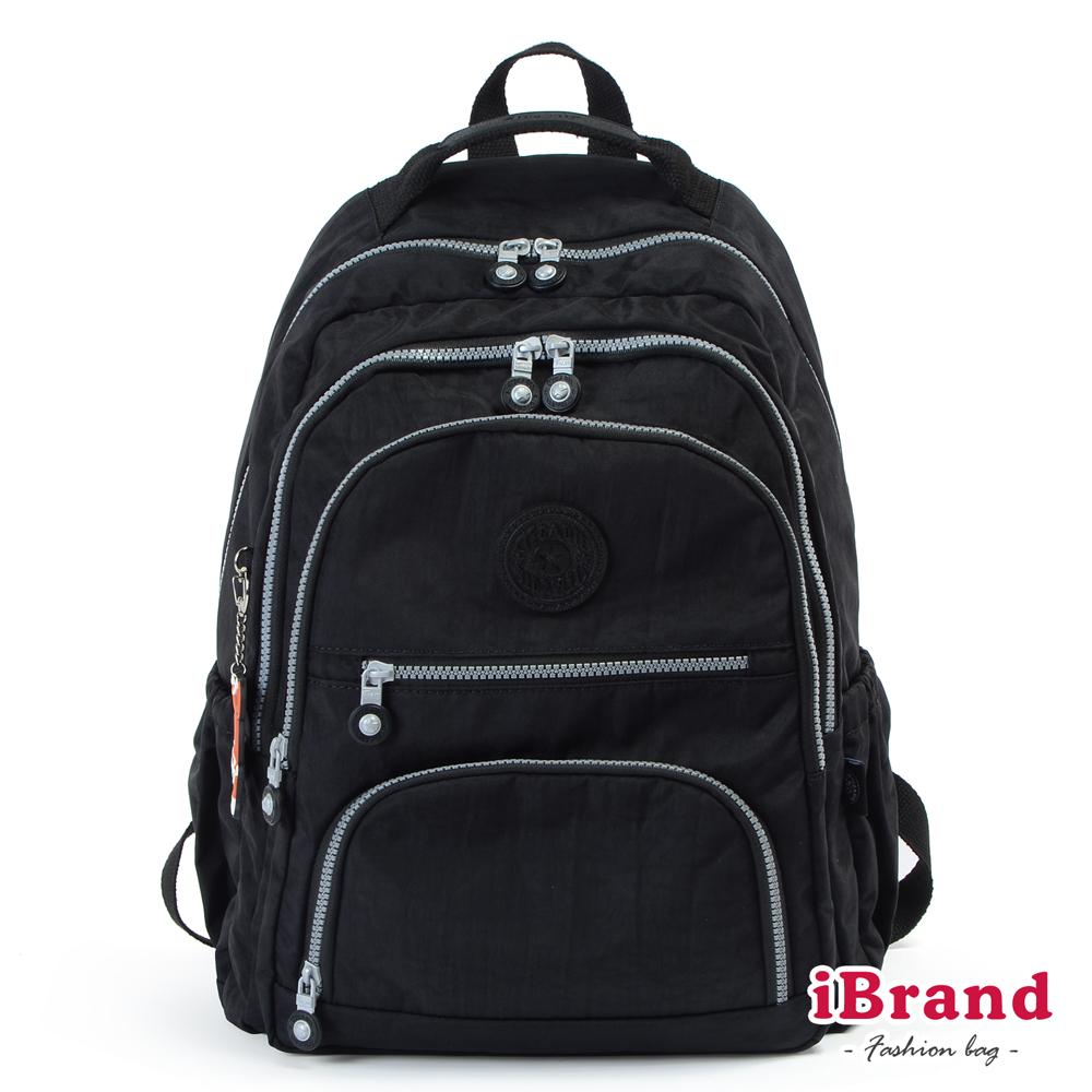 iBrand後背包 百搭簡約素色多層收納後背包-百搭黑