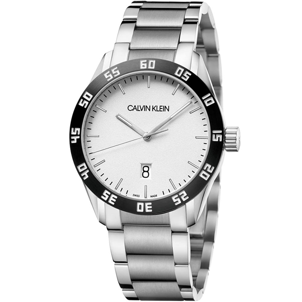CALVIN KLEIN compete 運動風格時尚腕錶(K9R31C46)白/42mm
