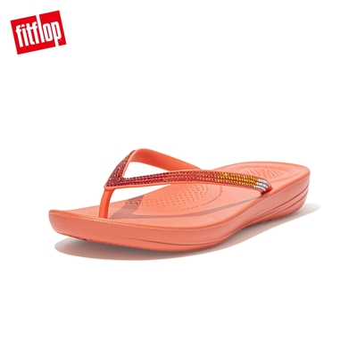 【FitFlop】IQUSHION OMBRE SPARKLE FLIP-FLOPS 漸層水鑽人體工學戲水夾腳拖-女(珊瑚粉)