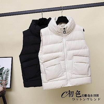 羽絨保暖短款背心-共2色(M-XL可選)   初色