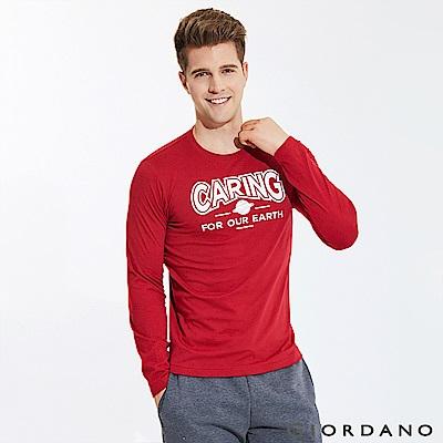 GIORDANO 男裝圓領英文標語長袖印花T恤-22 標誌紅