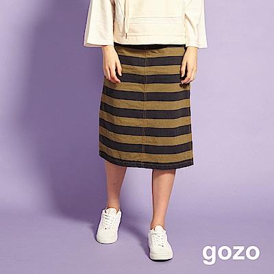 gozo 率性牛仔拼接條紋窄裙(綠色)