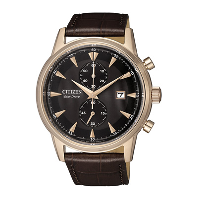 CITIZEN 光動能時尚計時兩眼腕錶-小牛皮錶帶(CA7008-11E)-42mm