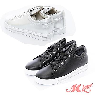 MK 真皮-簡約兔耳休閒厚底鞋  2 色