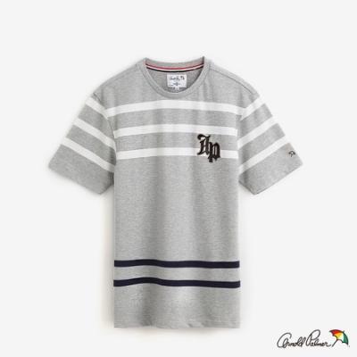 Arnold Palmer-男裝-花紗配條彈性網眼T恤-灰