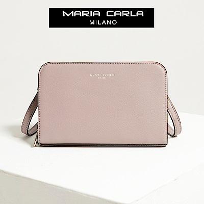 【Maria Carla】藕荷色_拉鏈式手機皮夾側背包_日光休閒_二層牛皮_SERIES