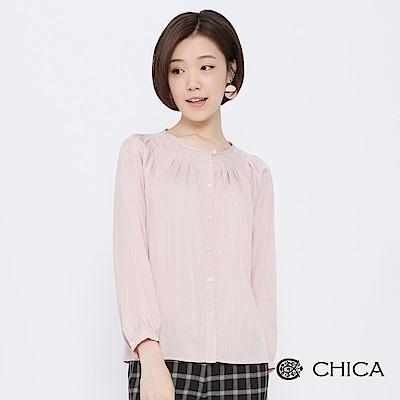 CHICA 復古宮廷美學圓領壓褶襯衫(2色)