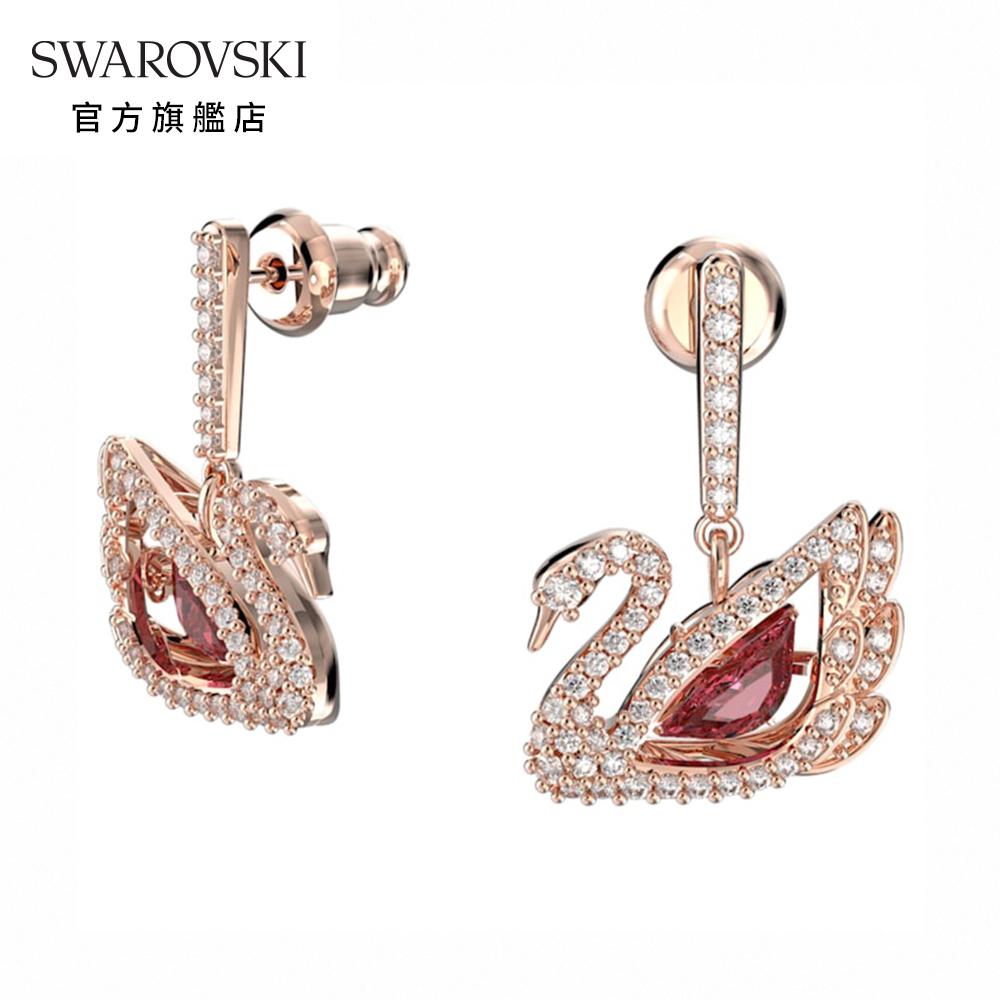 SWAROVSKI 施華洛世奇 Dancing Swan 玫金色舞動天鵝穿孔耳環