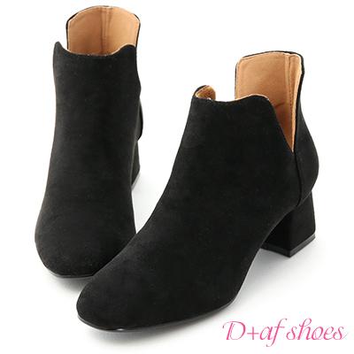 D+AF 俐落Life.側V口絨料及踝短靴*黑