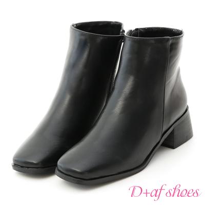 D+AF 極簡有型.復古方頭素面低跟短靴*黑