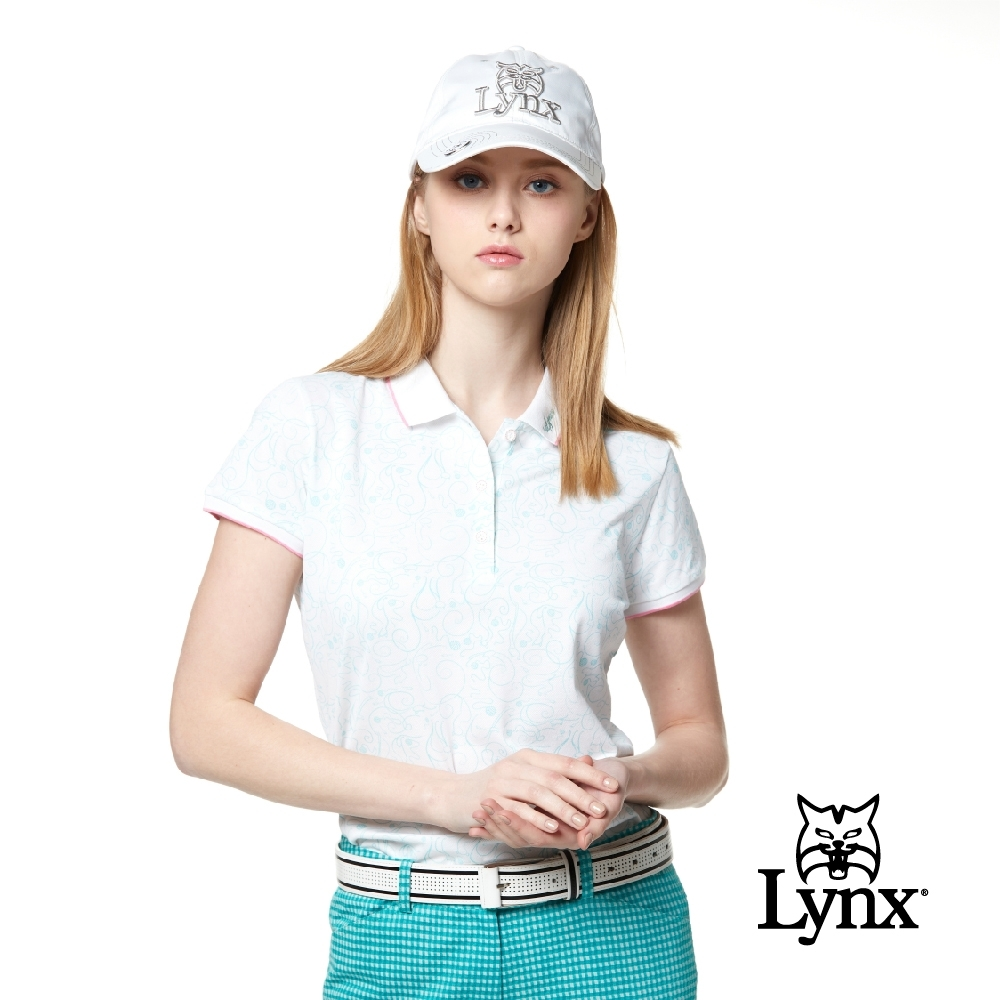 【Lynx Golf】女款吸濕排汗抗UV涼感羅紋邊條配色滿版印花短袖POLO衫-水藍色