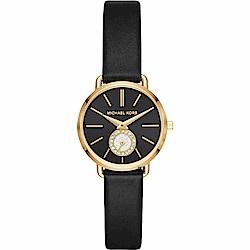 Michael Kors PORTIA 紐約晶鑽小秒針手錶-黑/28mm MK2750