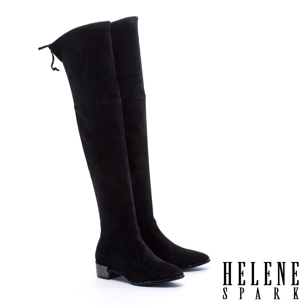長靴 HELENE SPARK 俐落剪裁純色彈力麂布粗跟過膝長靴-黑