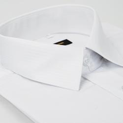 金‧安德森 白色暗條紋吸排窄版長袖襯衫fast