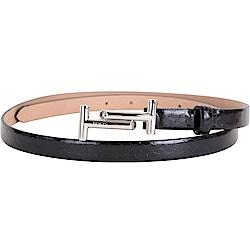 TOD'S 雙T金屬設計窄版蛇皮紋理腰帶(黑色)