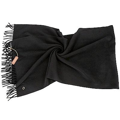 Loro Piana 100%喀什米爾羊毛黑色流蘇圍巾