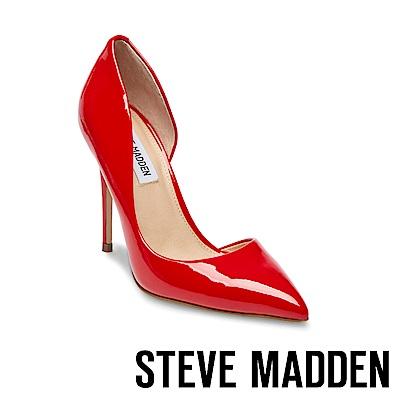 STEVE MADDEN-DREA 鏡面尖頭側空高跟鞋-鏡紅