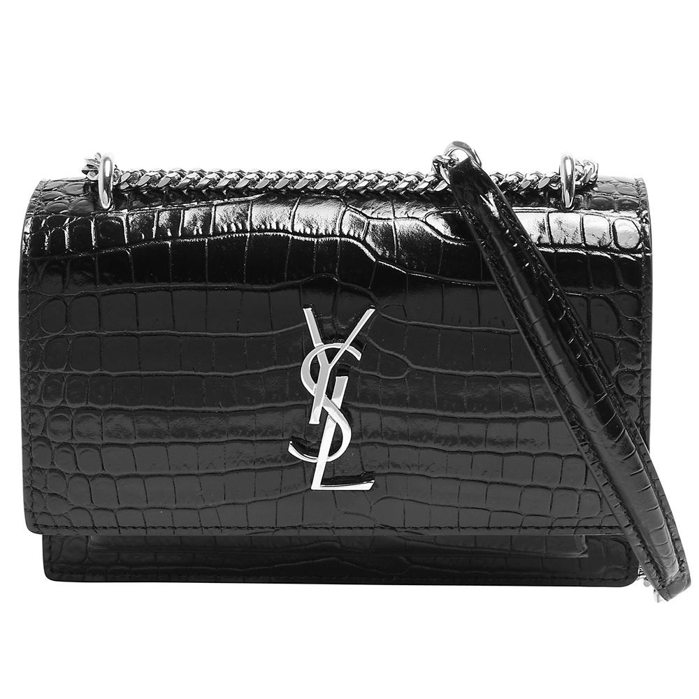 YSL 經典金屬銀色LOGO鱷魚紋牛皮銀鍊磁釦肩背/斜背包(黑色)