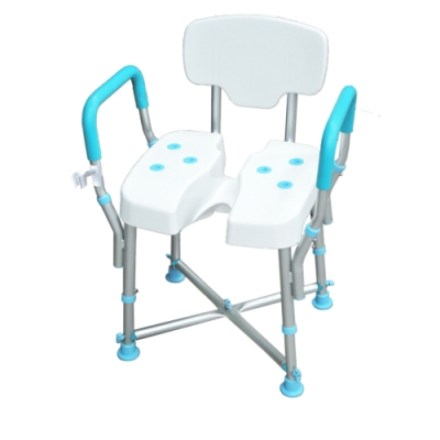 COLOR 荷重型鋁合金洗臀洗澡靠背扶手椅(發泡扶手+蓮蓬頭掛架)