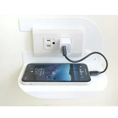 (台灣製造)免鑽牆AB1006WT(小號) 插座開關充電置物架白色