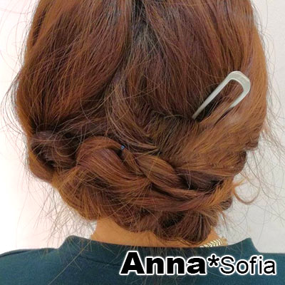 AnnaSofia 簡約啞砂面 長型髮簪髮插(共有二色)