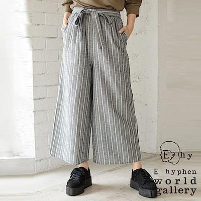 E hyphen 棉麻混紡綁帶直條紋寬褲
