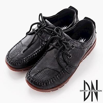 DN 歐美簡約 羊皮厚底鞋帶休閒鞋-黑