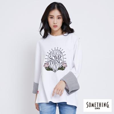 SOMETHING 花卉字體 寬長袖T恤-女-白色