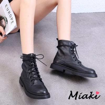 Miaki-短靴.綁帶尖頭平底低跟踝靴