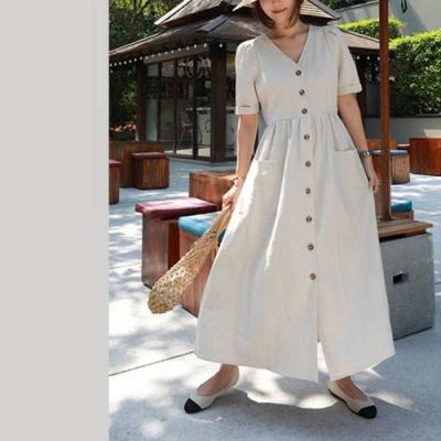 2F韓衣-簡約V領口袋排扣造型洋裝-2色(S~XL)