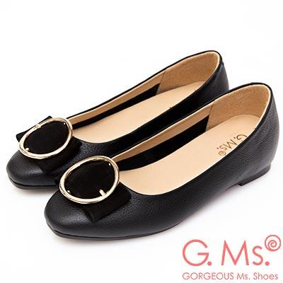 G.Ms. MIT系列-圓釦金屬蝴蝶結牛皮內增高平底鞋-黑色