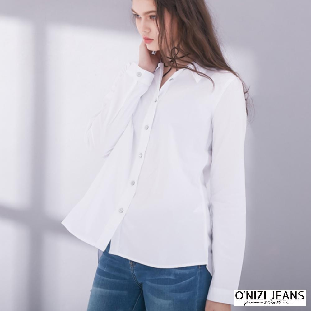 onizi-後開叉襯衫-女-白