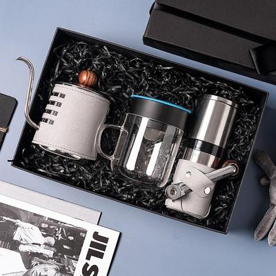 【PO:Selected】丹麥手沖咖啡三件禮盒組(咖啡壺-灰/玻璃杯240ml-藍/咖啡磨2.0)