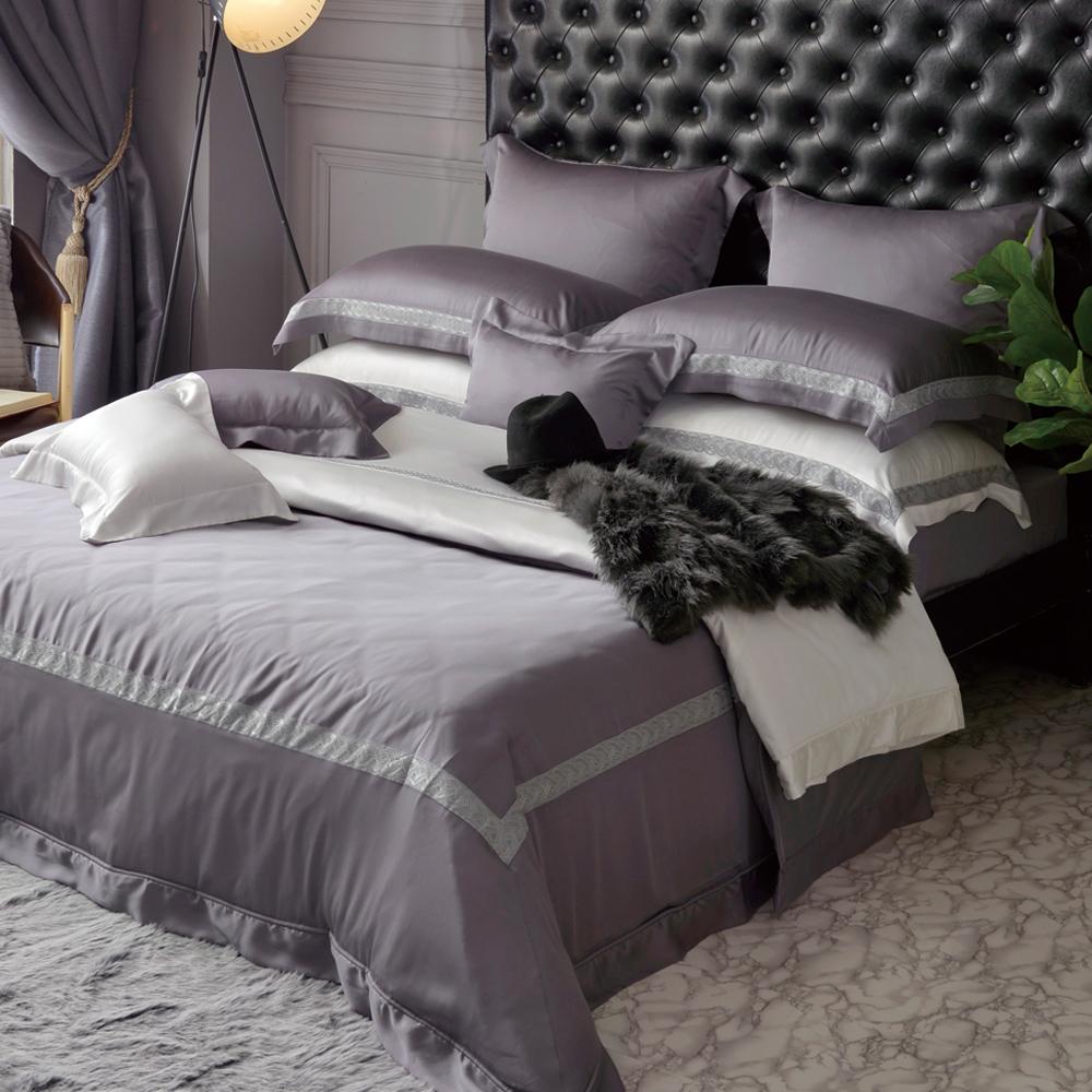 義大利La Belle 法蘭克 特大天絲蕾絲四件式防蹣抗菌吸濕排汗兩用被床包組-灰