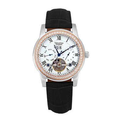 Valentino Coupeau 范倫鐵諾 古柏 閃耀晶橋機械錶 (半玫殻/白面/黑帶)
