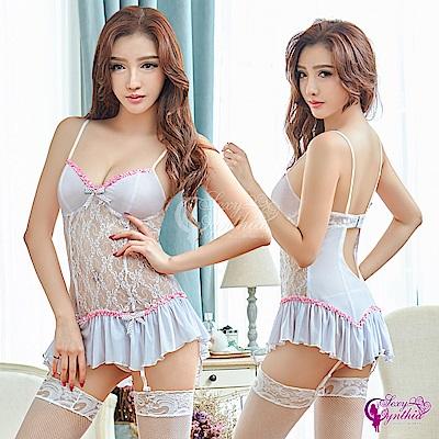 Sexy Cynthia 馬甲 純白緹花蕾絲長馬甲吊襪帶四件組- 白F